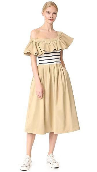 Sea Комбинированное платье с открытыми плечами