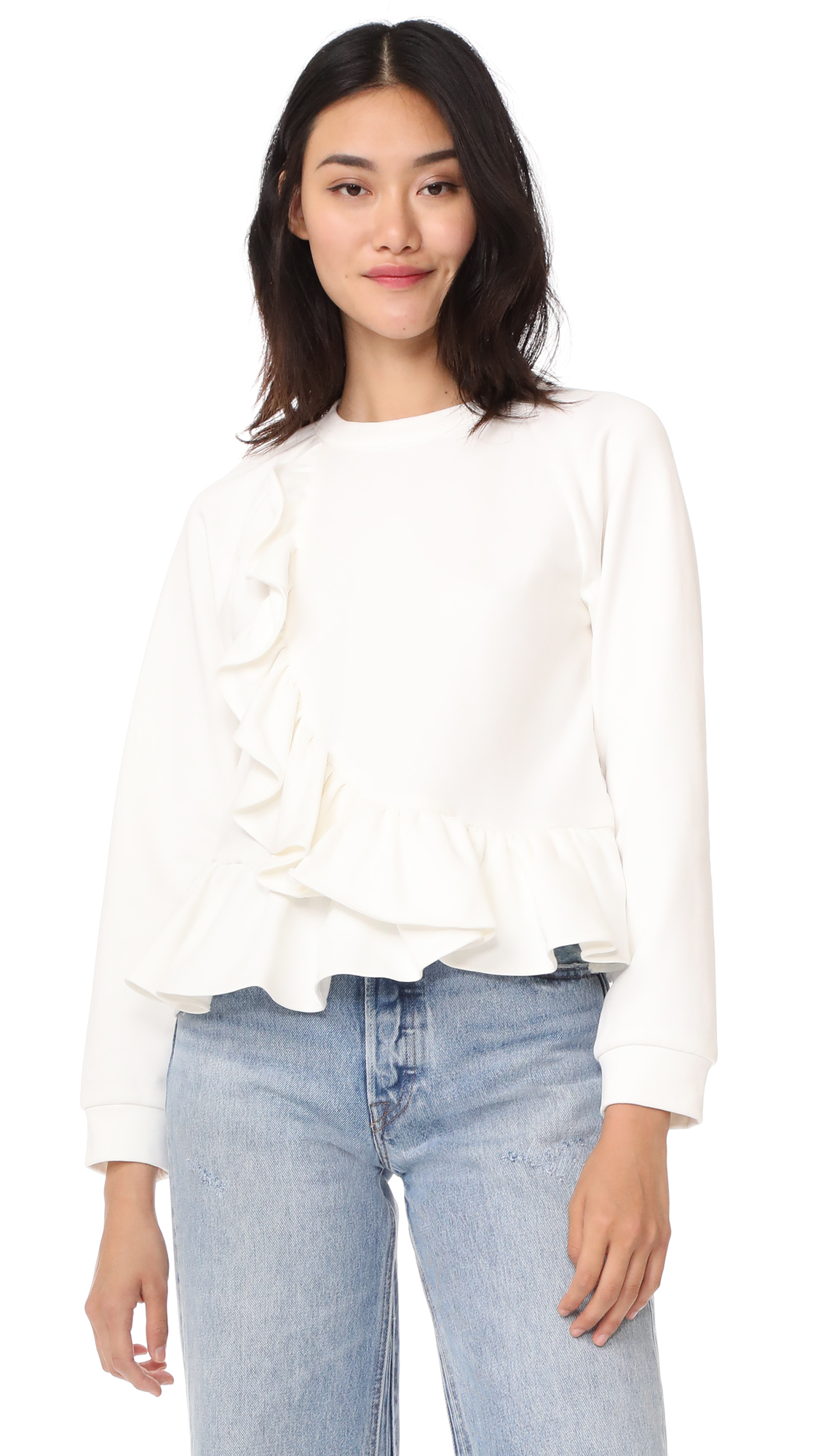 Sea Ruffle Wrap Sweatshirt