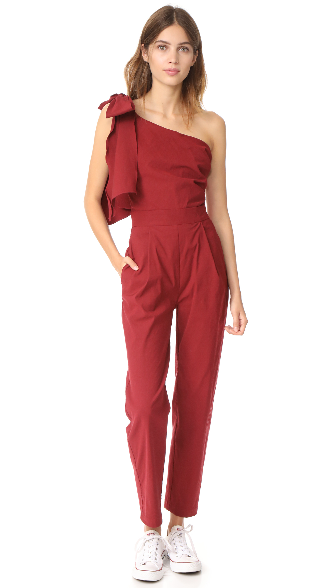 Sea Obi Tie Jumpsuit - Burgundy