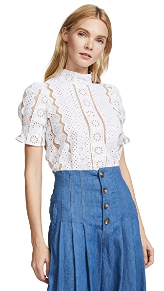 Sea Puff Sleeve Luna Lace Top In White With Tan Mesh