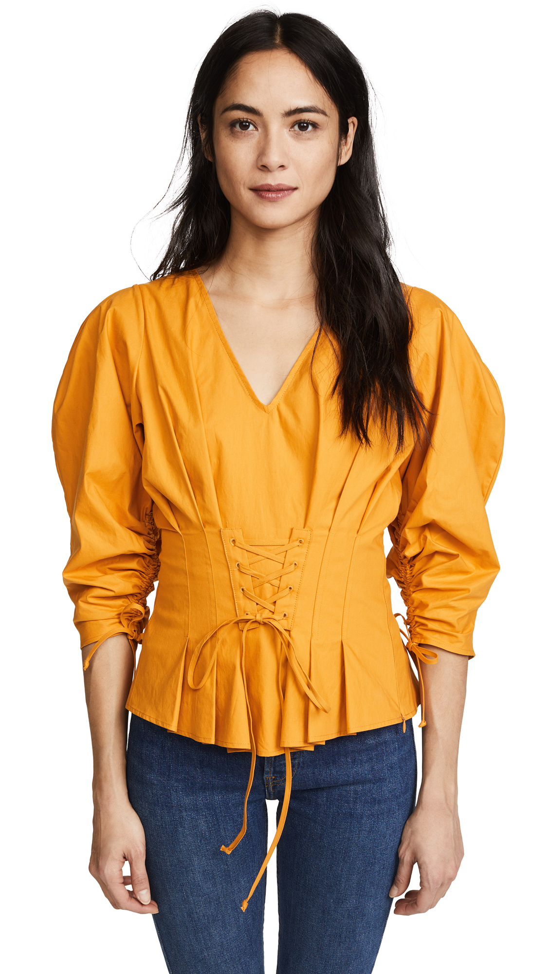 Sea 3/4 Sleeve Lace Up Blouse