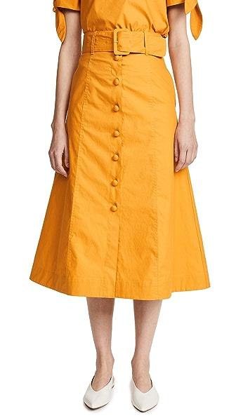 Sea Dome Button A-Line Midi Skirt