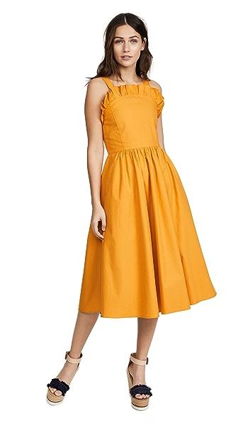 Sea Sunrise Lace Up Dress In Tangerine