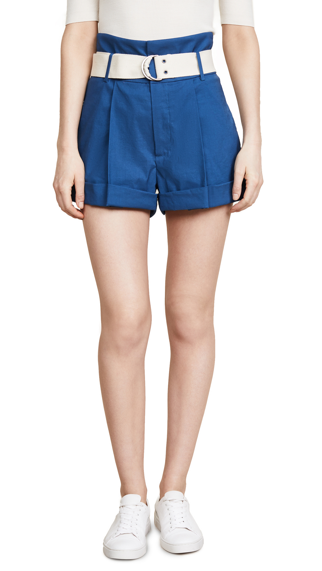 Sea Poppy High Waisted Shorts In Blue