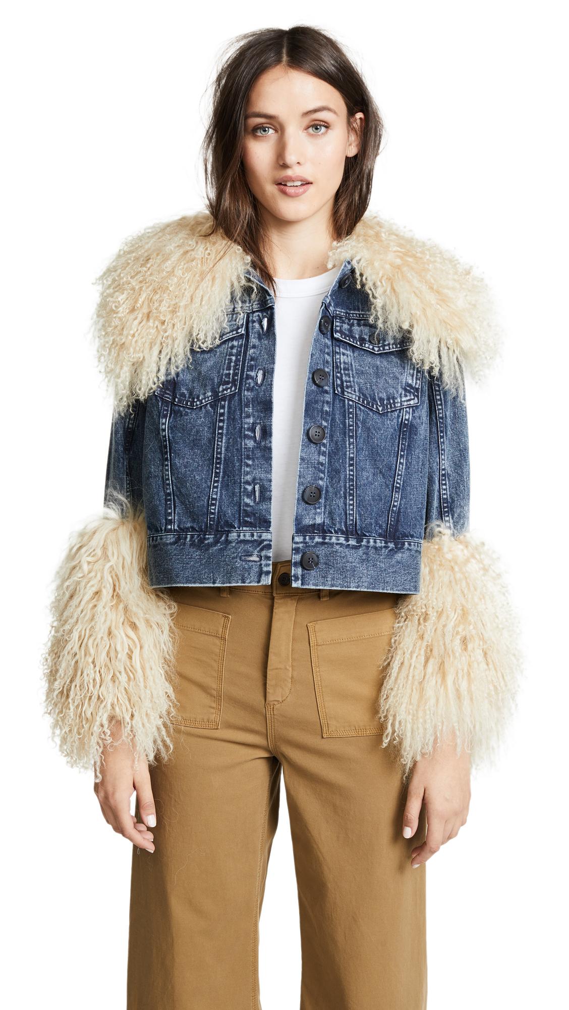 Sea x Jocelyn Denim & Fur Jacket In Indigo