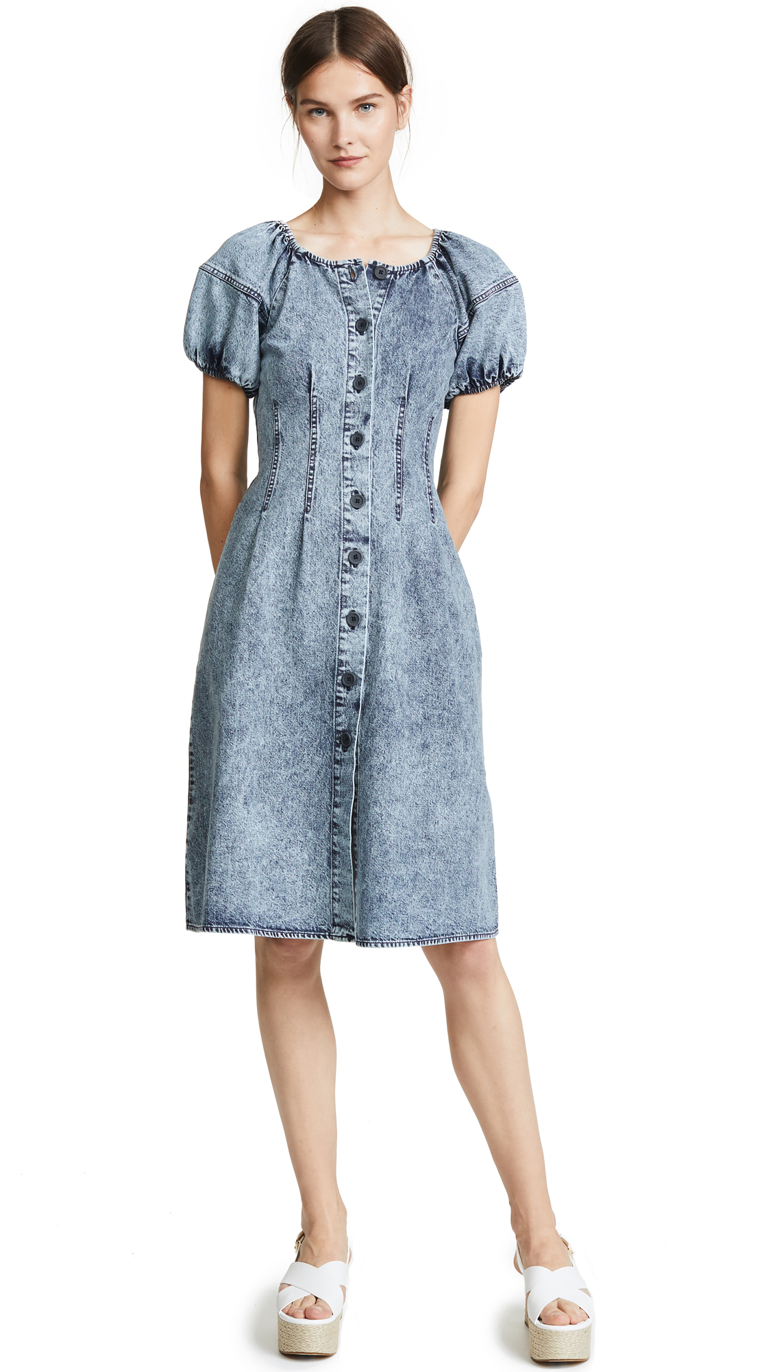 Sea Jocelyn Acid Wash Dress In Indigo