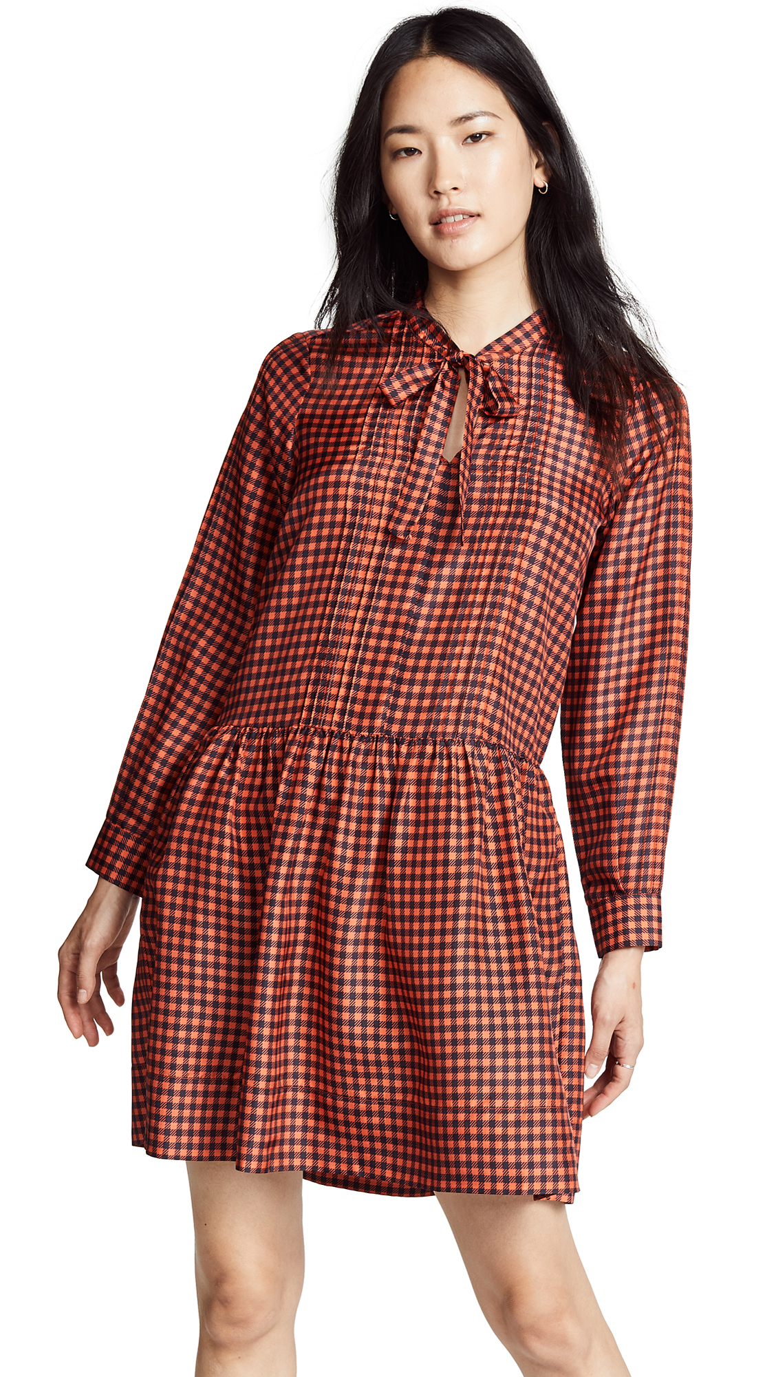 Sea Tunic Dress In Orange Check
