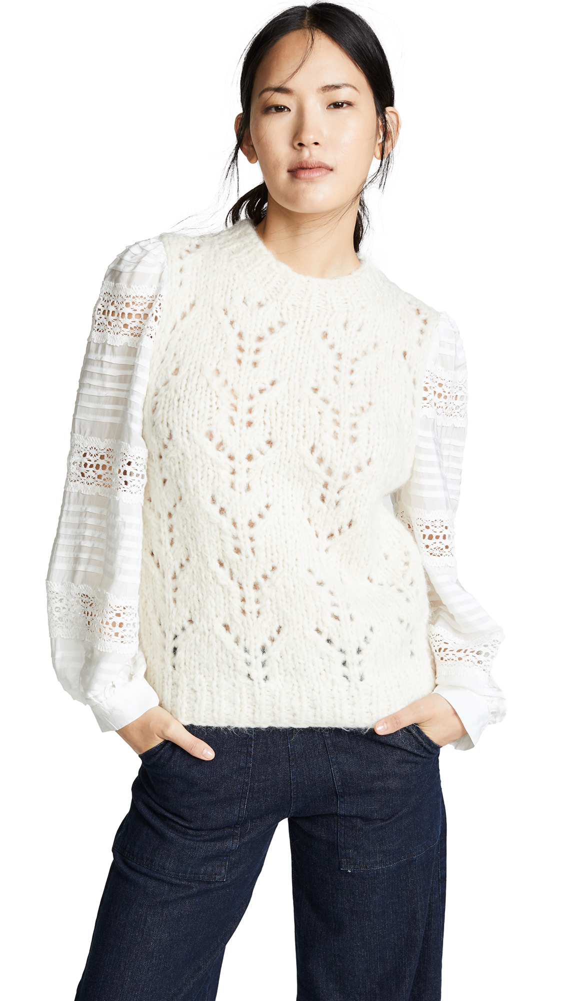 Sea Ellie Lace Combo Sweater In Cream