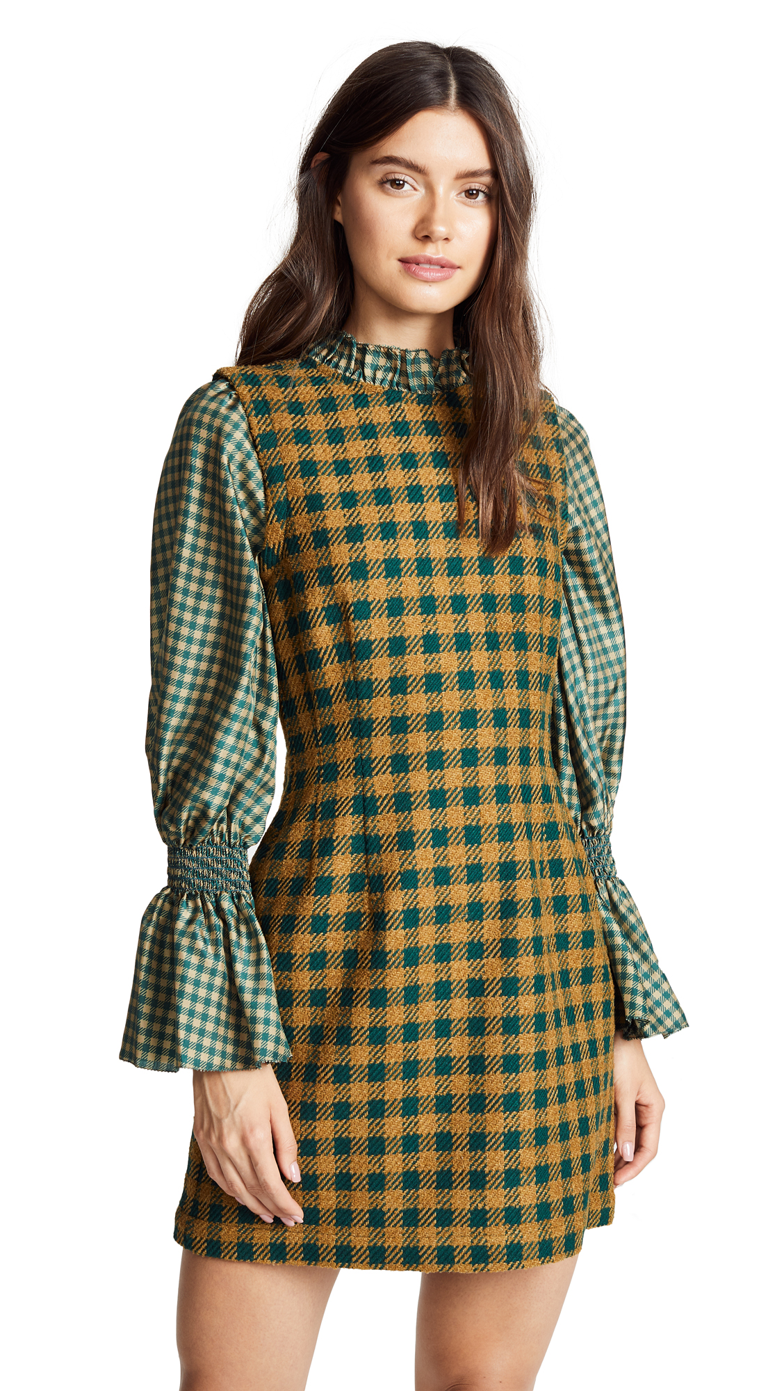 Sea Ethno Combo Dress In Green Check