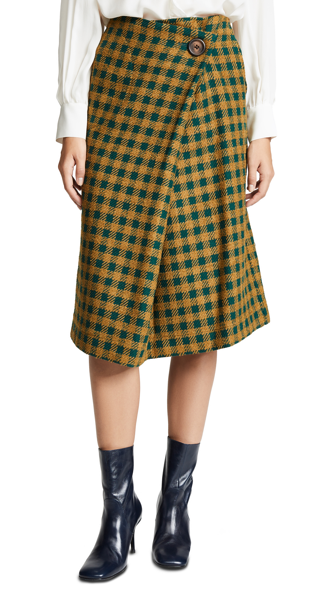 Sea Ethno Wrap Skirt In Green Check