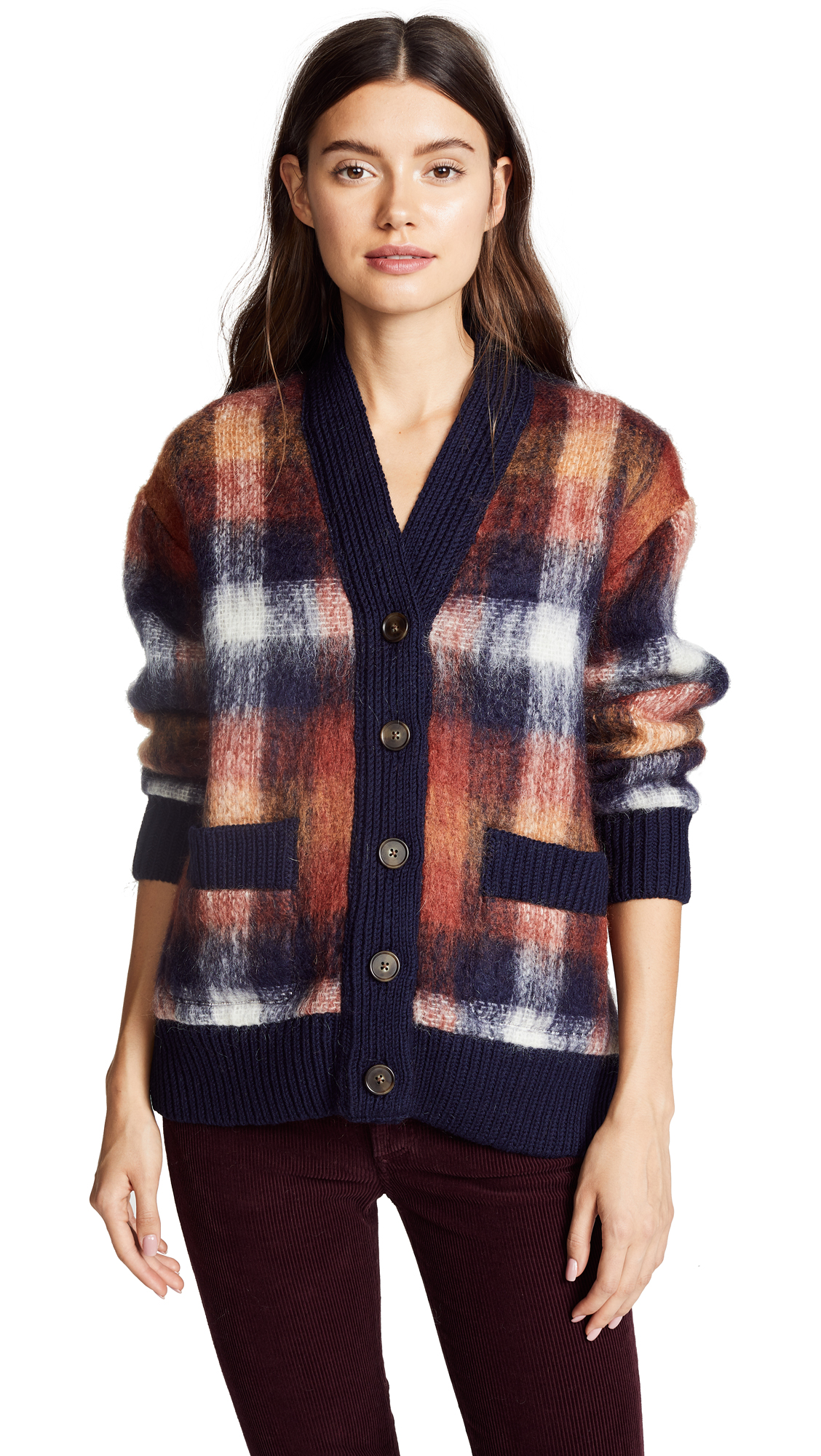 Sea Jane Mohair Cardigan In Plaid Multi