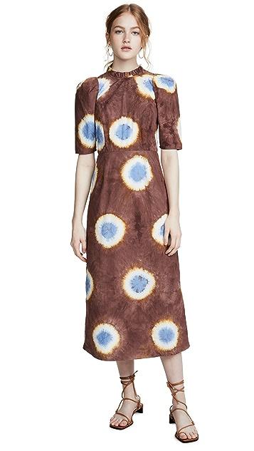 Sea Tie Dye Ruffle Midi Dress