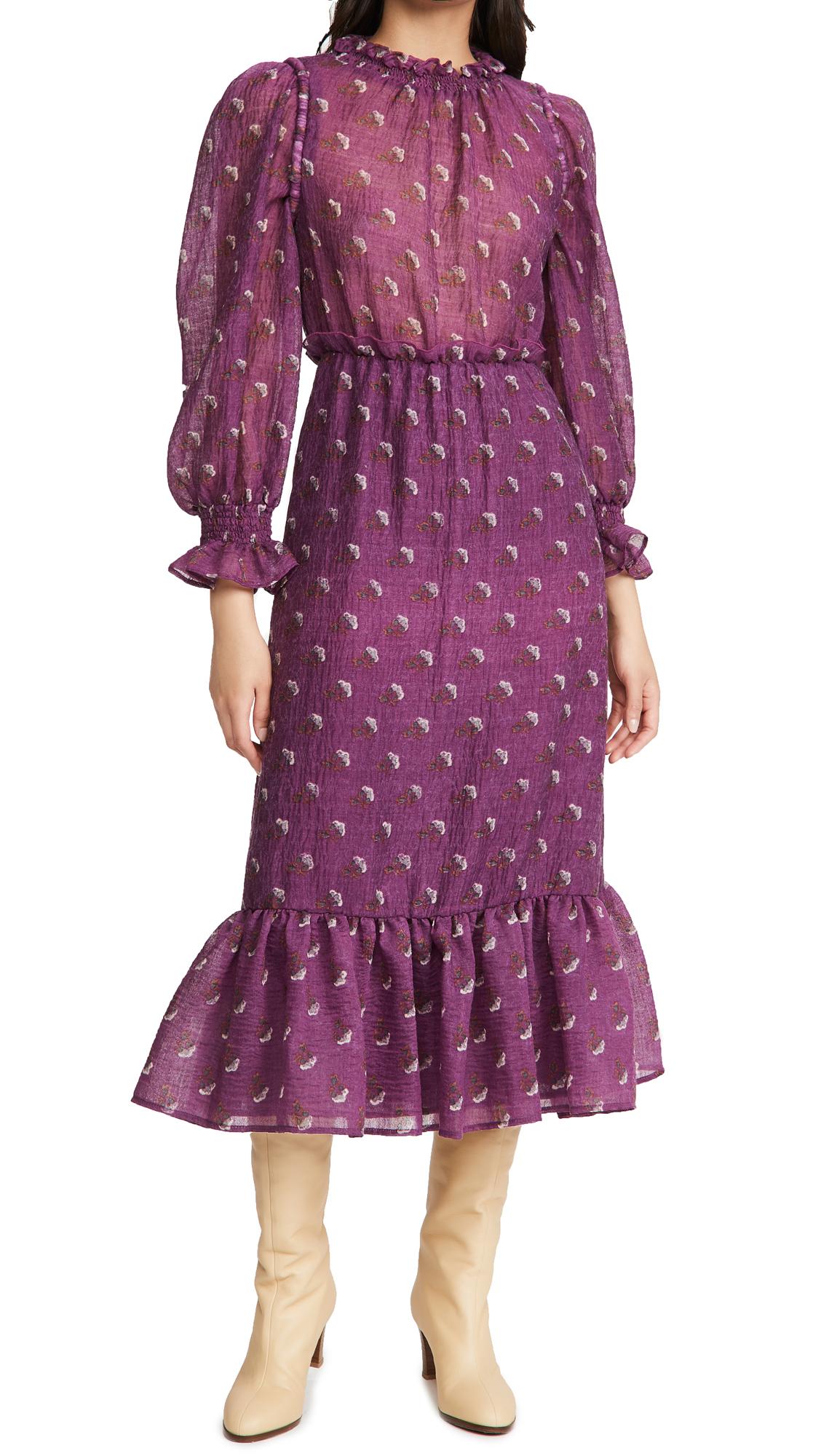Sea Alexis Wool Puff Sleeve Maxi Dress