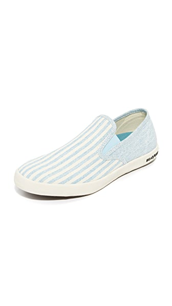 SeaVees Baja Beach Club Slip On Sneakers - Soft Blue