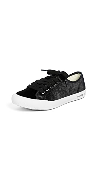 SeaVees Monterey Velvet Sneakers In Black