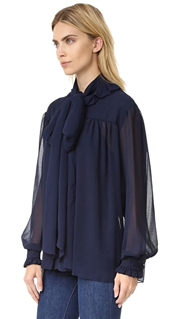 See by Chloe Ruffle Neck Chiffon Blouse