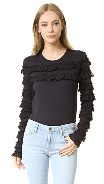 See by Chloe Long Sleeve Ruffle Tee