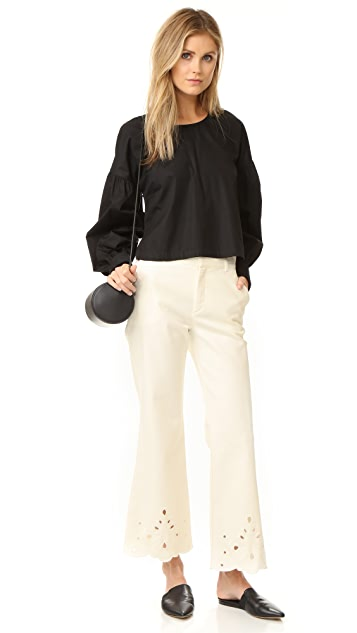 See by Chloe Eyelet Flare Jeans