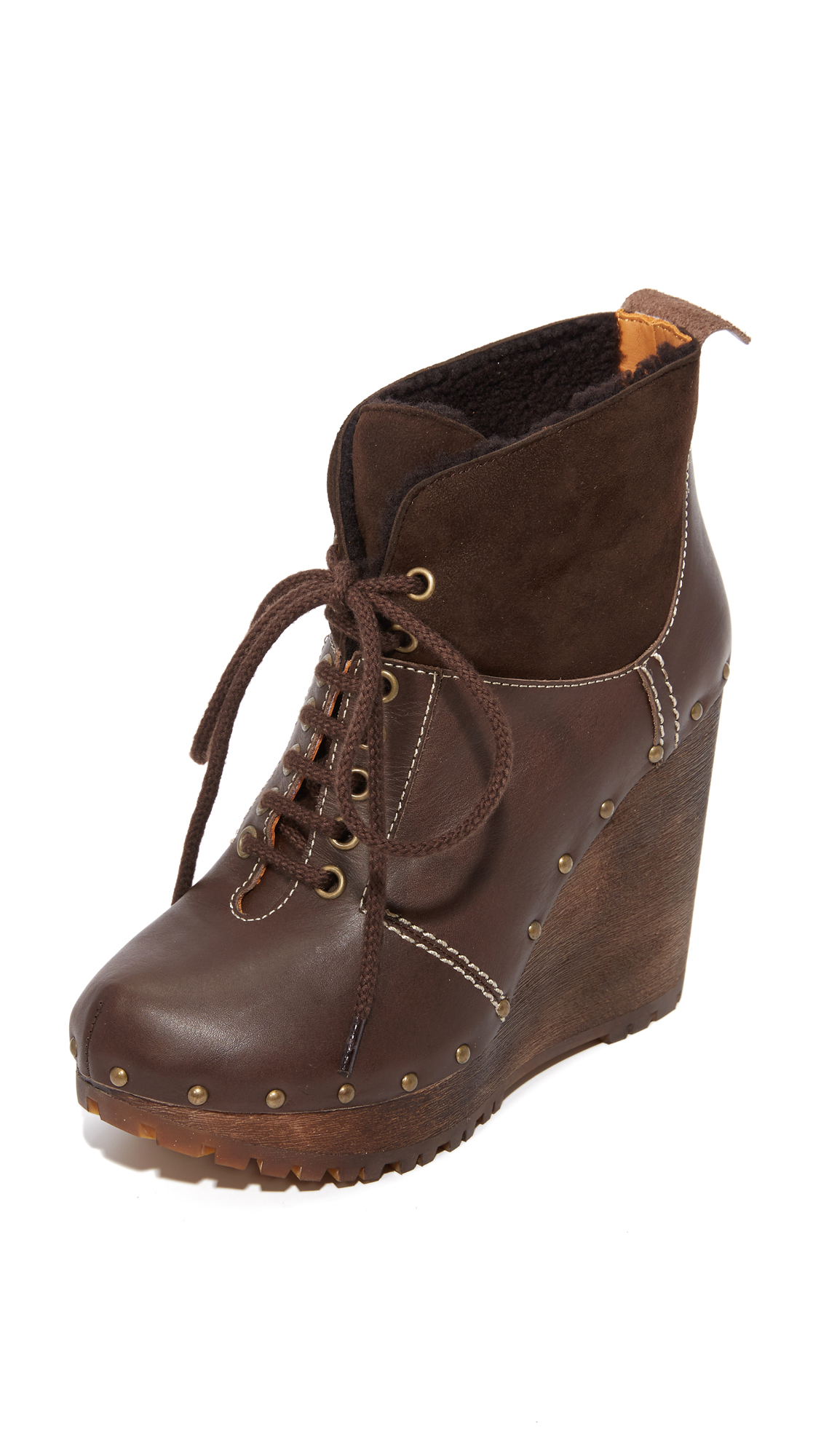See By Chloe Clive Platform Lace Up Booties - Mouse