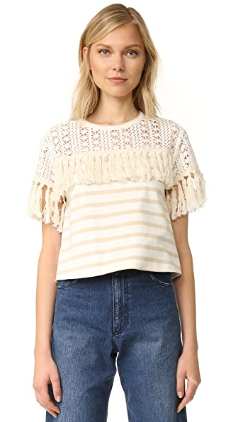 See by Chloe Striped Fringe Tee