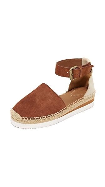 See by Chloe Glyn Espadrille Wedge Sandals - Tan