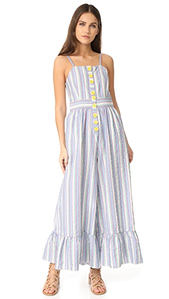 See by Chloe Ruffle Bottom Overalls - Multicolor