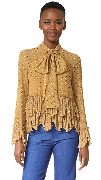 See by Chloe Printed Ruffle Blouse In Ochre