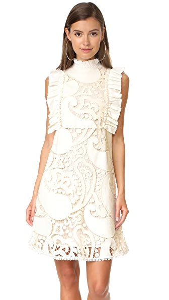 See by Chloe Ruffle Neck Eyelet Dress - Natural White