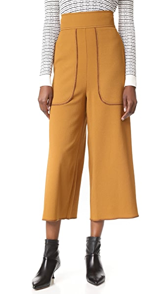 See by Chloe Cropped Wide Leg Trousers - Gold