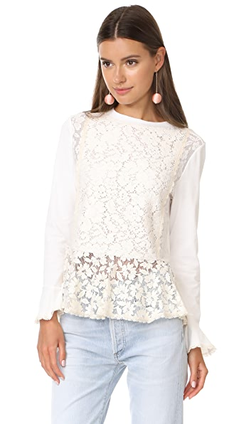 See by Chloe Lace Pullover In Natural White
