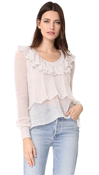 See by Chloe Ruffle Neck Pullover In Winter White