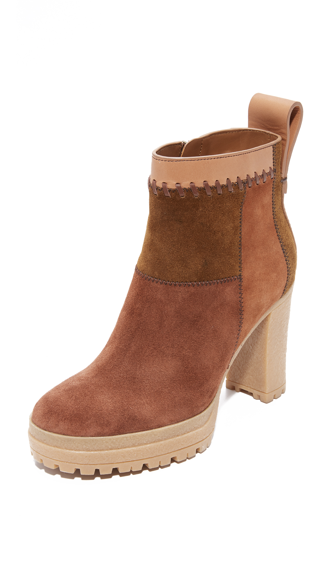 See by Chloe Polina Patchwork Booties - Natural