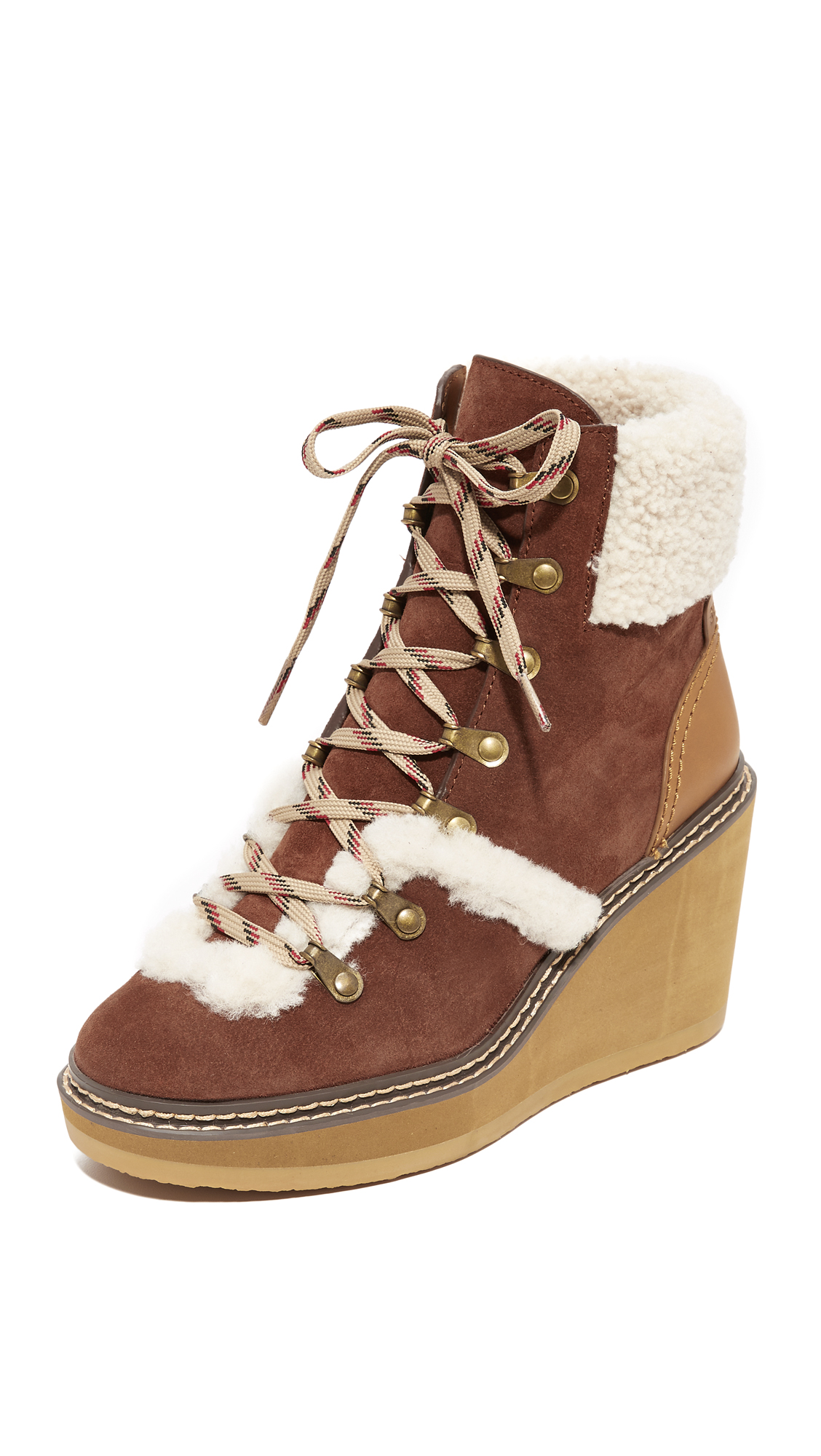 See by Chloe Eileen Wedge Shearling Booties - Azteco