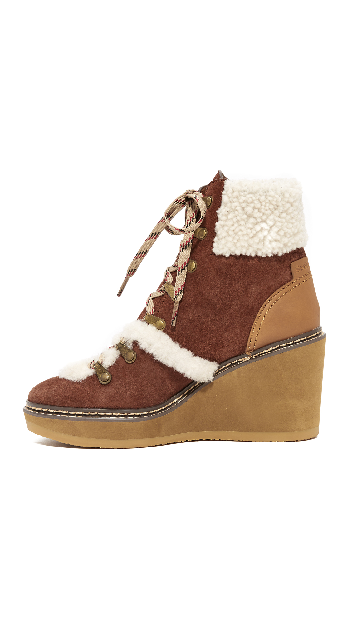 01fed9a5cb8e See by Chloe Eileen Wedge Shearling Booties