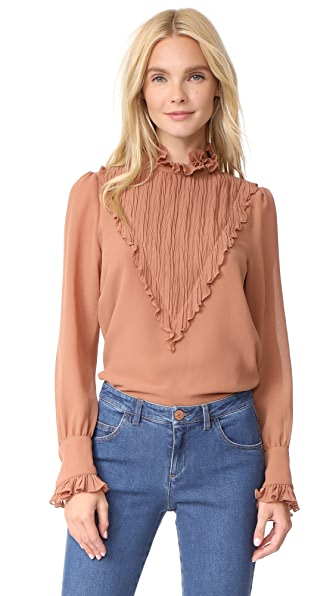 See by Chloe Puckered Neck Blouse In Nougat
