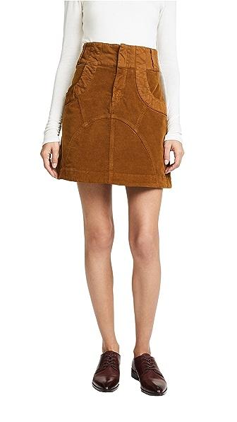 See by Chloe Velvet Skirt In Bronze Brown