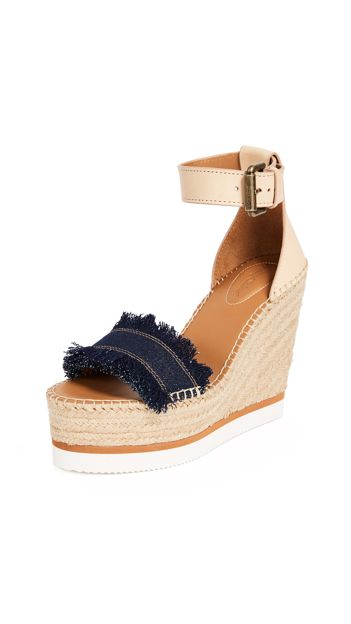 See by Chloe Glyn Wedge Espadrilles - Denim