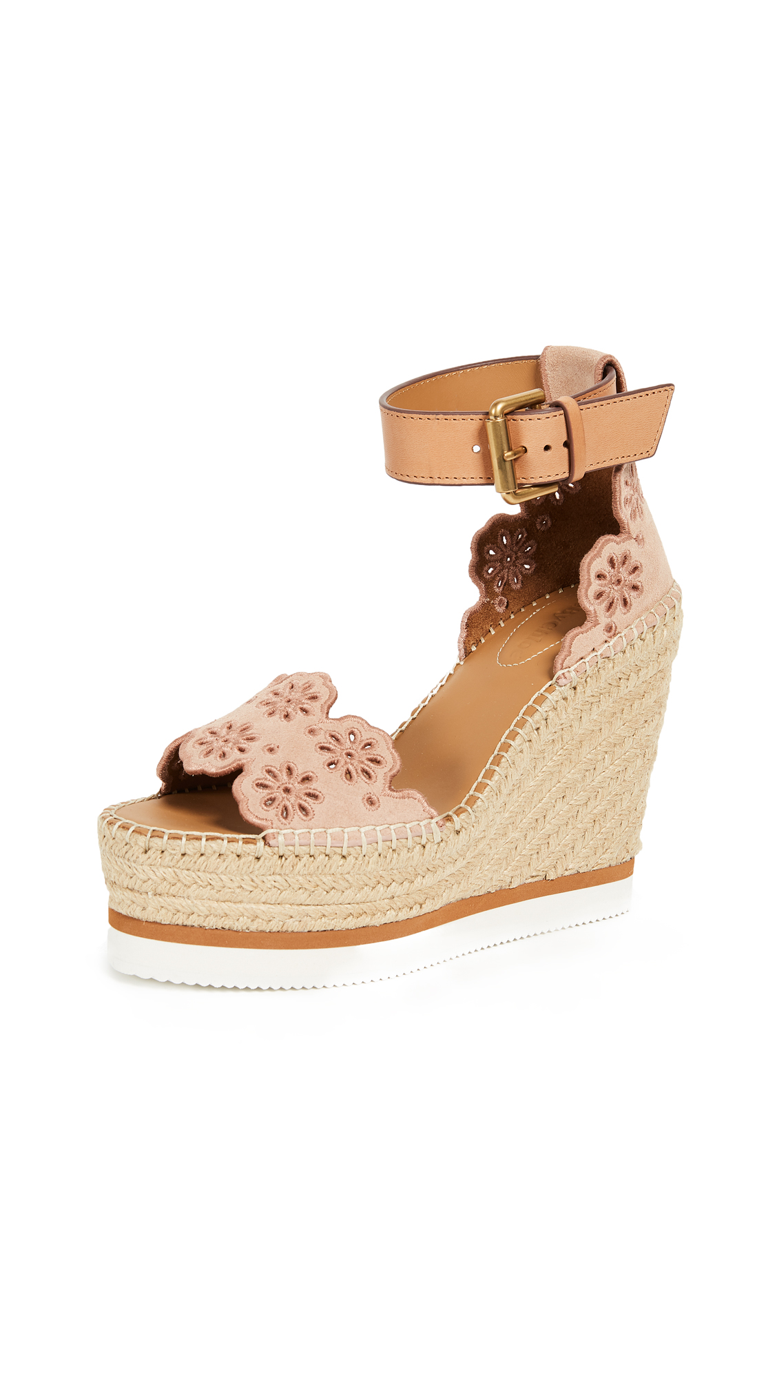 See by Chloe Glyn Wedge Espadrilles In Cipria