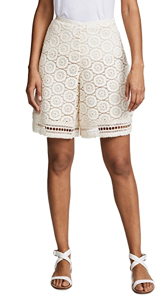 See by Chloe Ornamental Lace Shorts In Crystal White