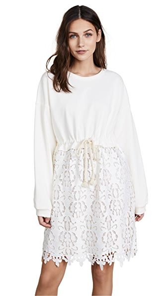 See by Chloe Jersey Lace Dress In Snow White