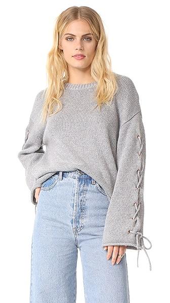 See by Chloe Tie Sleeve Sweater In Silver Sage