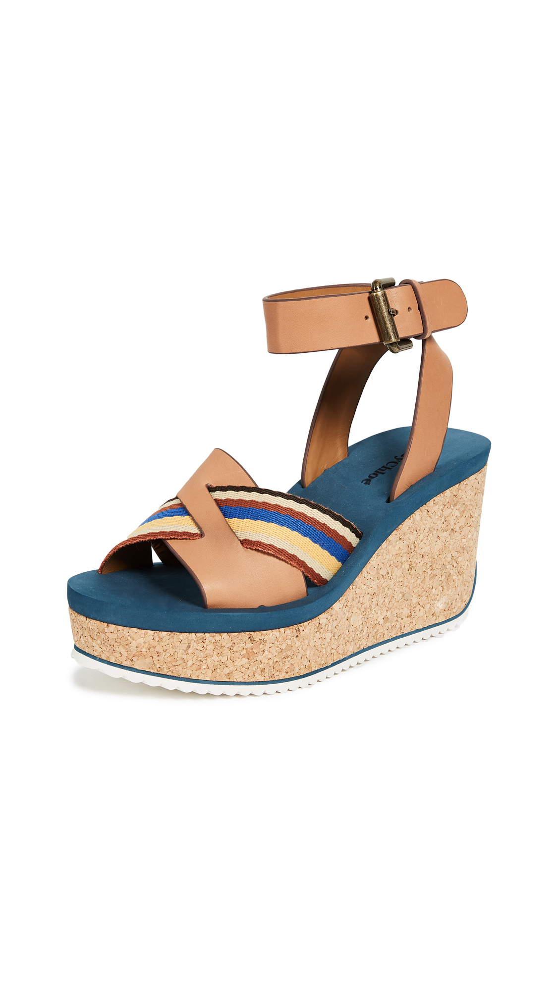 See by Chloe Mina Cork Wedge Sandals - Cuoio/Ribbon