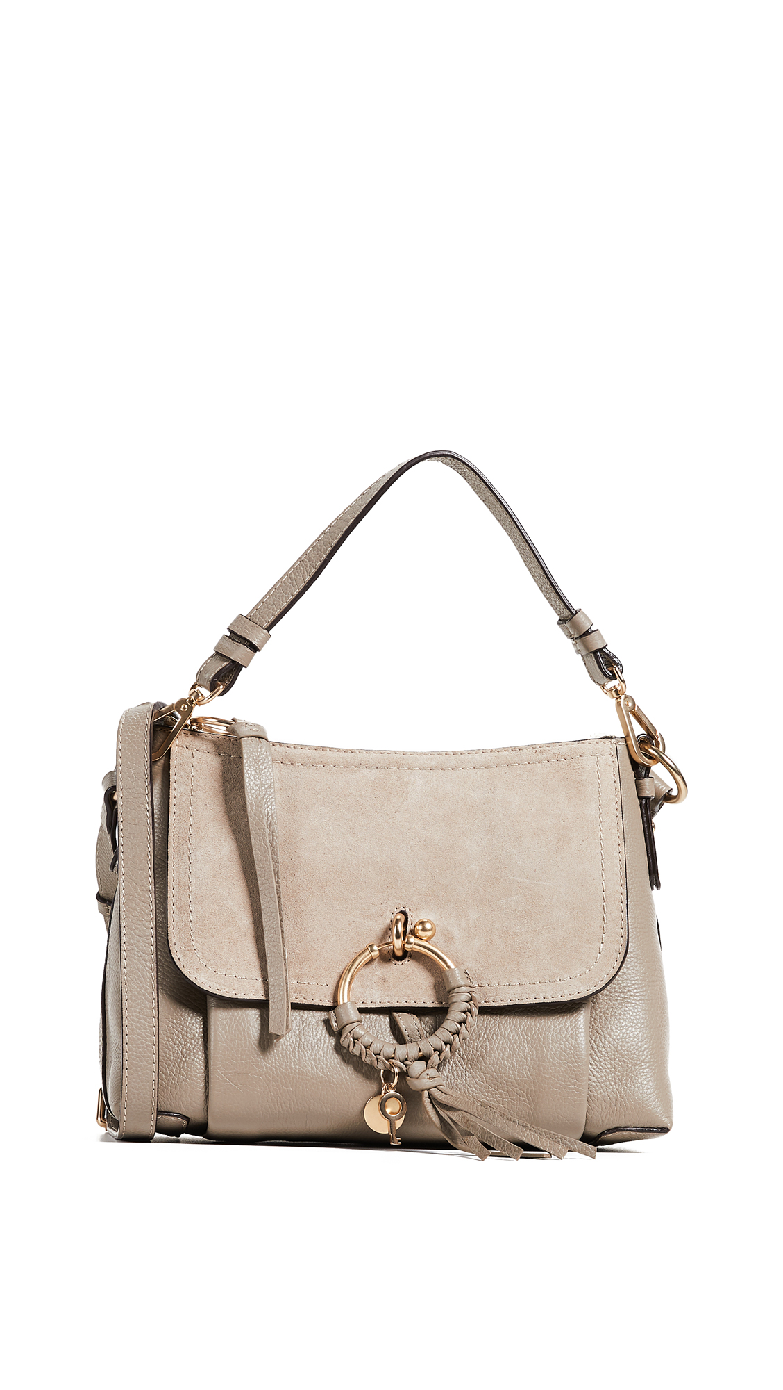 Joan Medium Suede-Paneled Textured-Leather Shoulder Bag in Gray