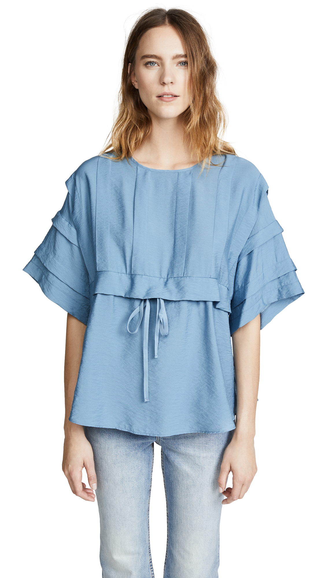 See by Chloe Pleated Top In Paloma Blue