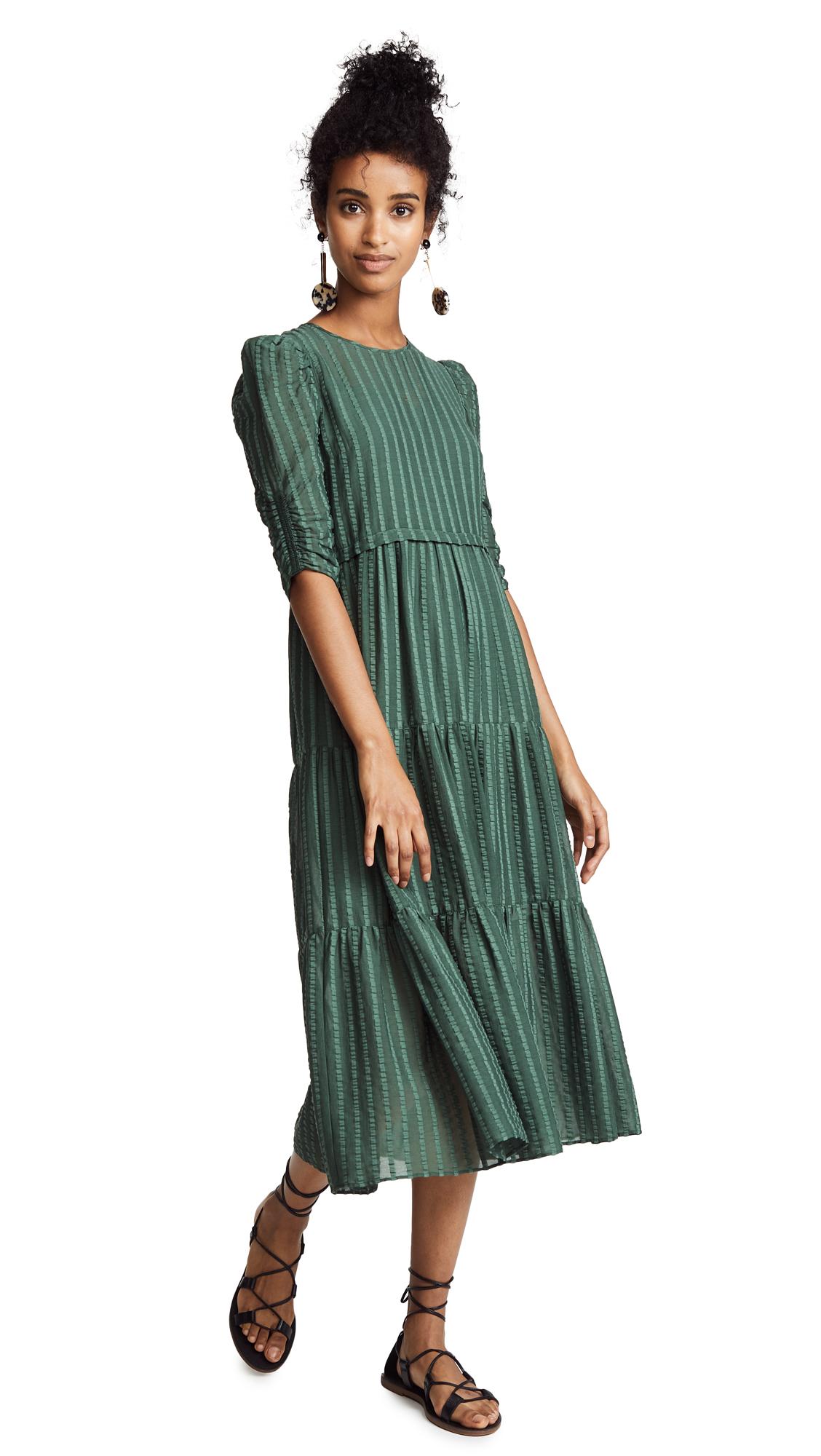 Tiered Striped Cotton-Blend Jacquard Midi Dress, Deep Green Marble