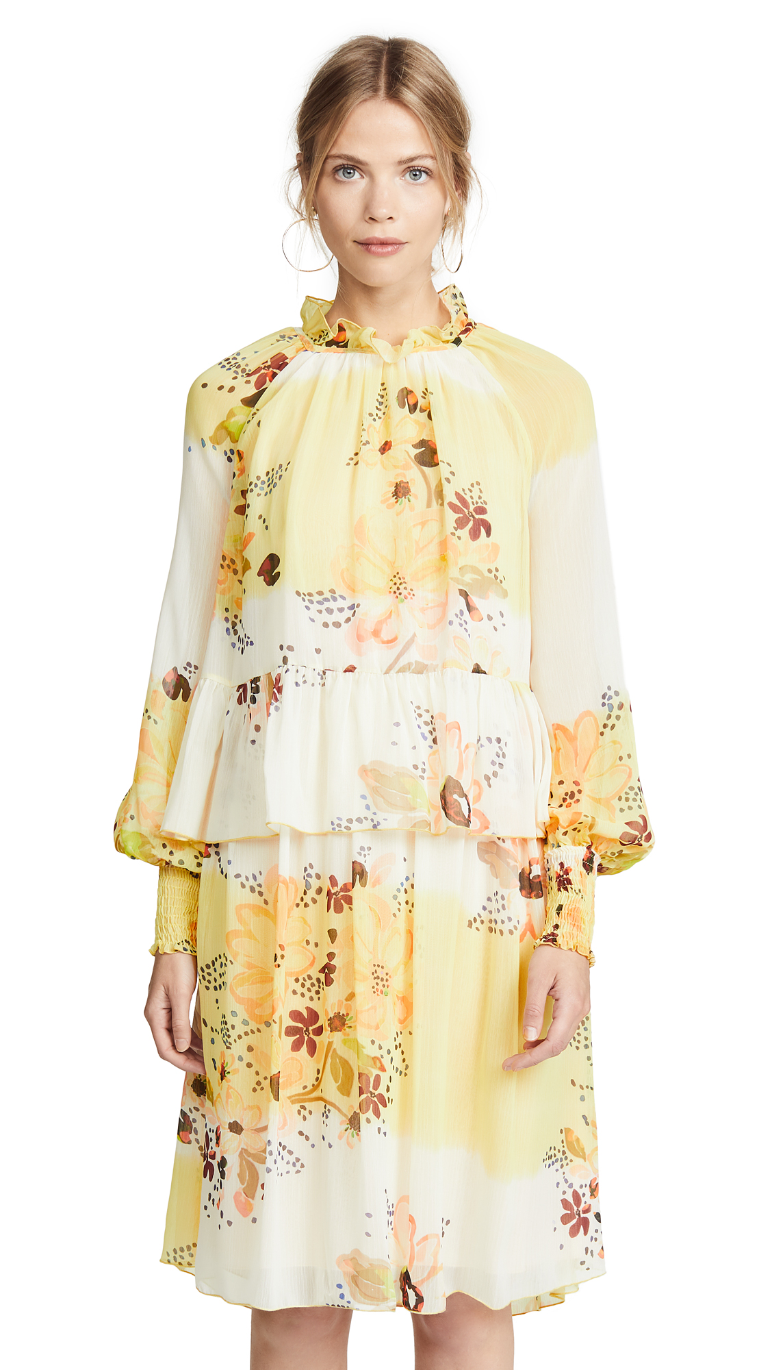 See by Chloe Floral Tiered Dress In Multicolor White