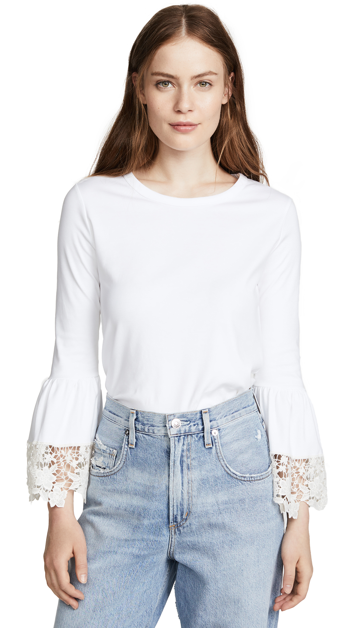 See by Chloe Lace Trim Tee In White Powder