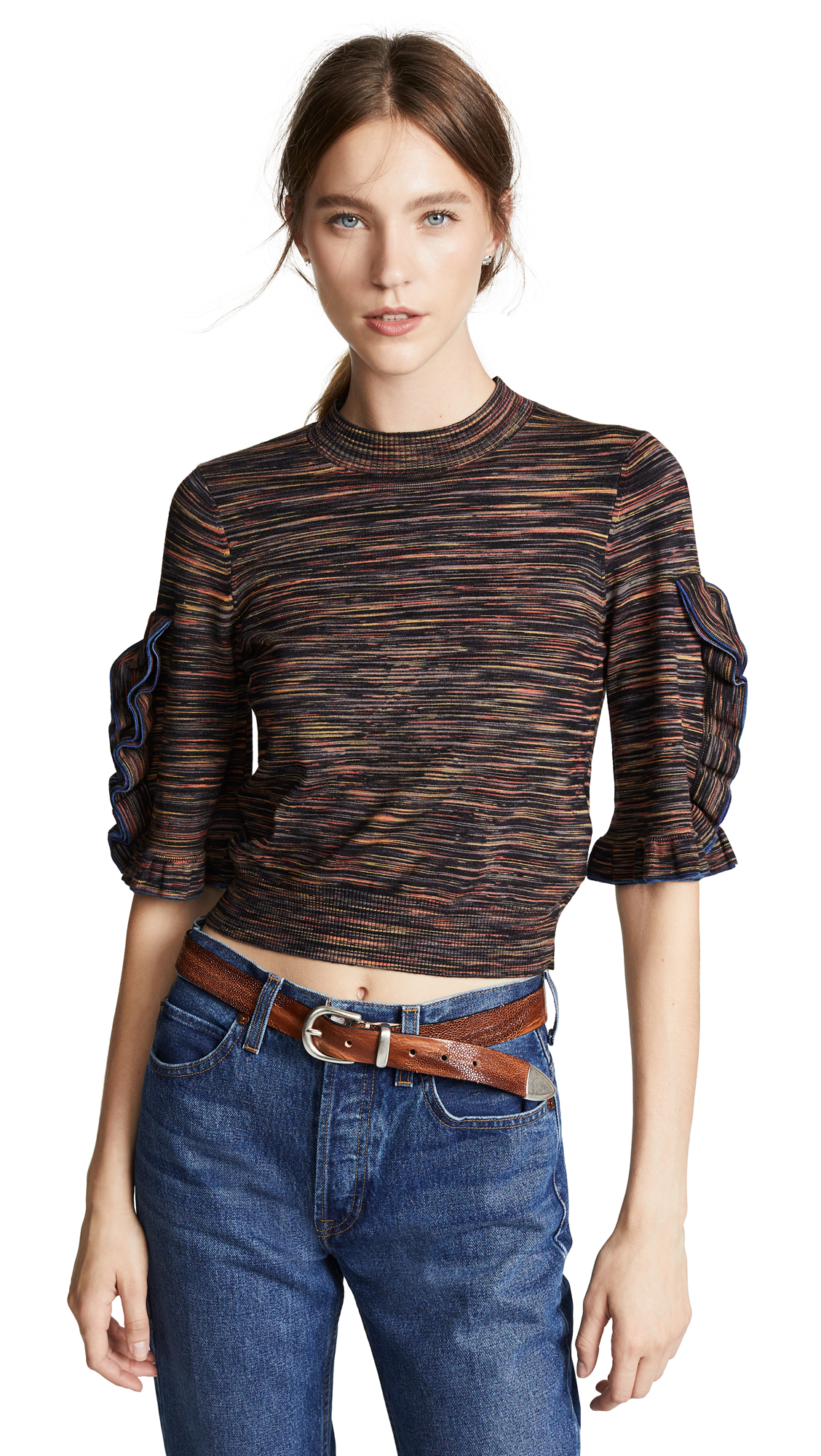 See by Chloe Space Dye Sweater In Multicolor Brown