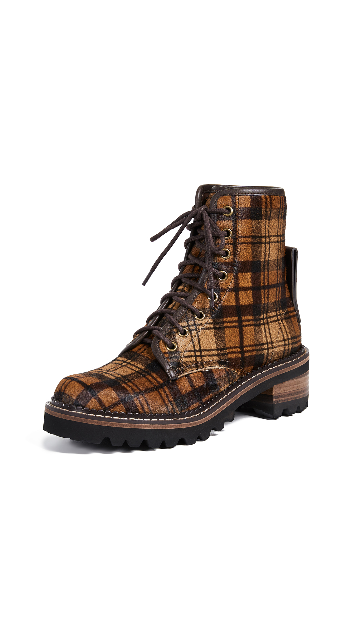 See by Chloe Marta Lace Up Boots - Print Tartan Brown/Noisette
