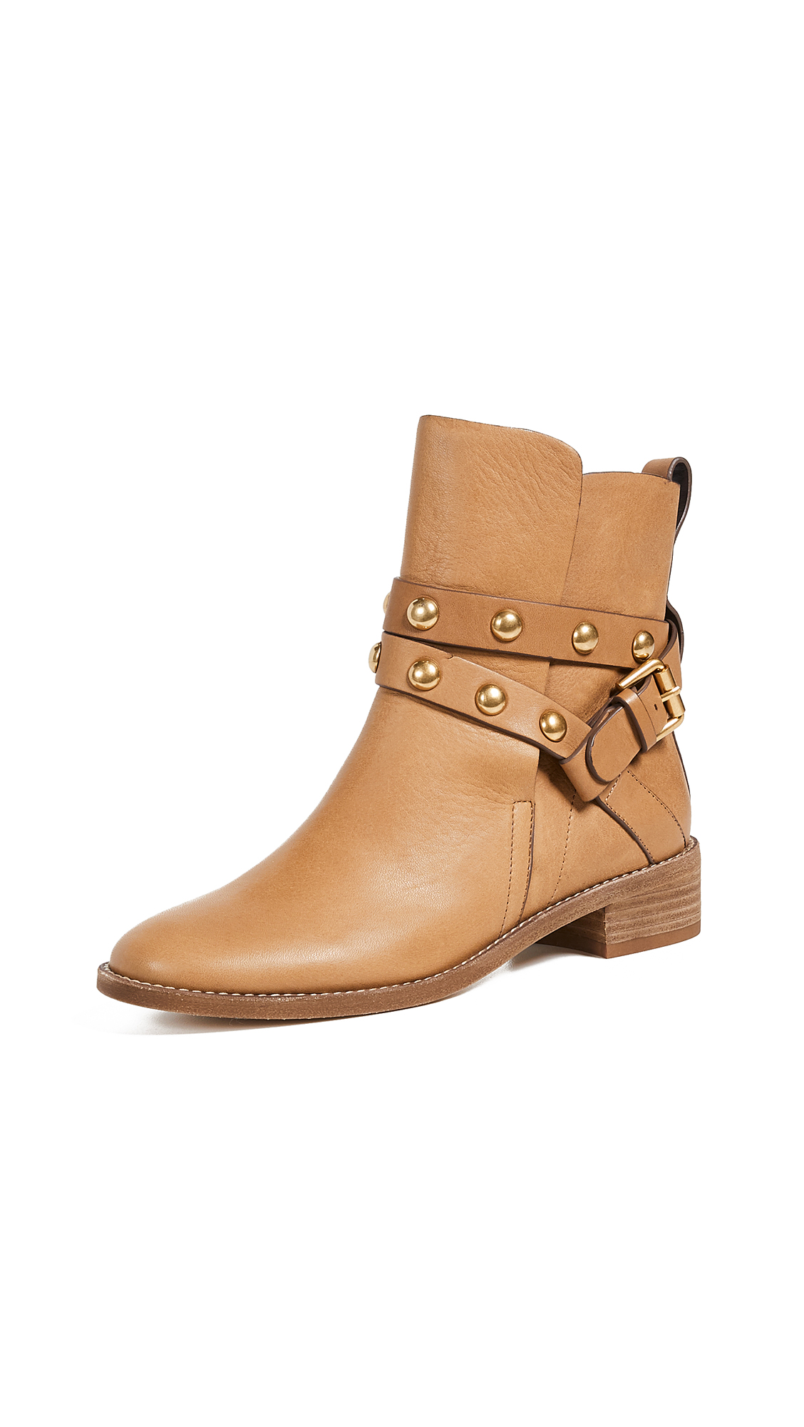 See by Chloe Janis Low Heel Booties - Cuoio